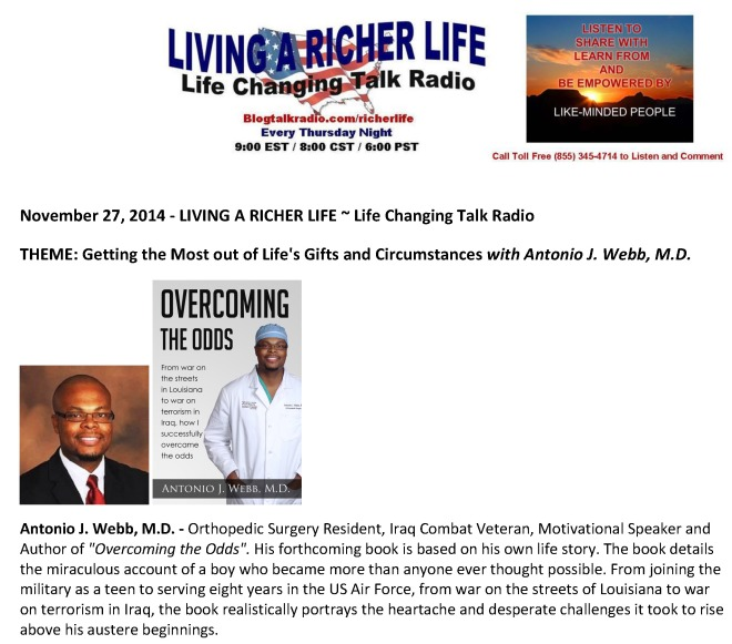 This Week on Living a Richer Life_Antonio J  Webb M D_ePost Card
